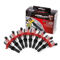 Hight Energy Pack of 8 Straight Boot Ignition Coils for Ford