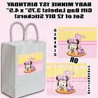 Baby Minnie 1st Birthday Thank You Favor Gift Bag Labels DIY
