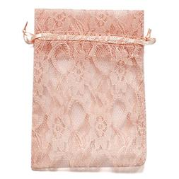 Ling's moment Pack of 50 Lace Organza Drawstring Gift Bag Po